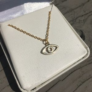 Jewelry - Gold Plated Evil Eye Pendant Charm Necklace
